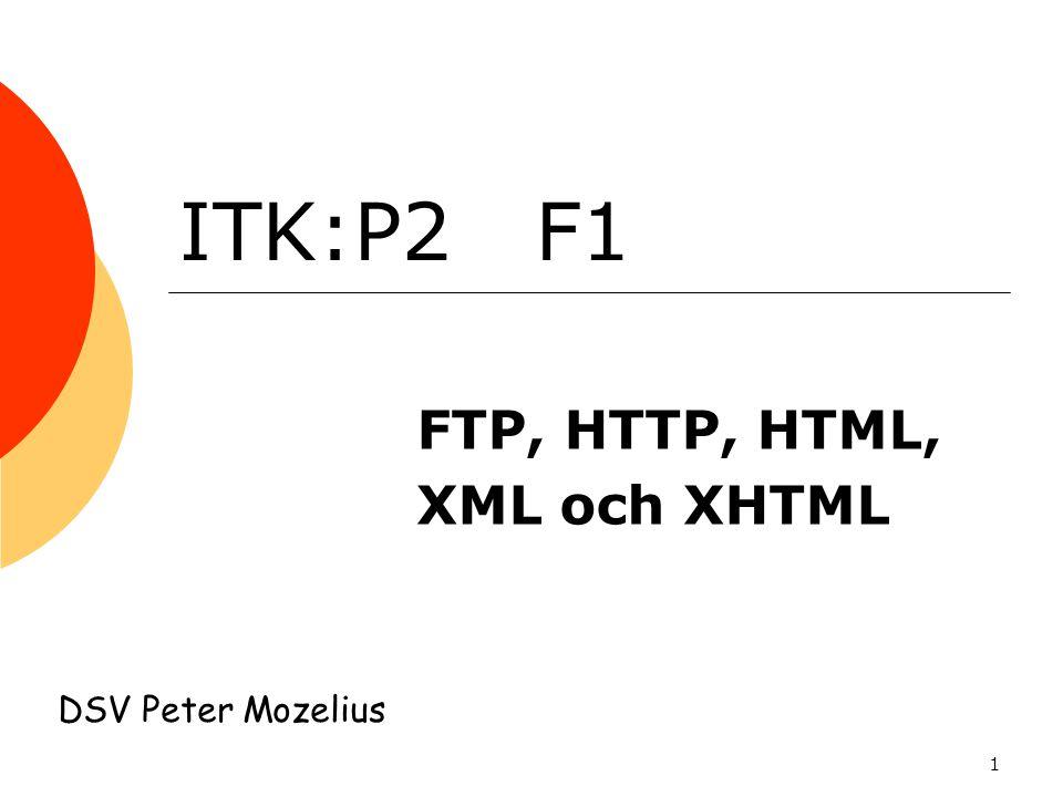1 ITK:P2 F1 FTP, HTTP, HTML, XML och XHTML DSV Peter Mozelius