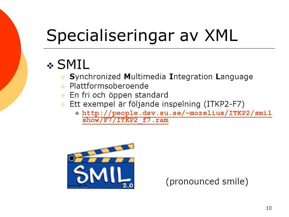 10 Specialiseringar av XML  SMIL  Synchronized Multimedia Integration Language  Plattformsoberoende  En fri och öppen standard  Ett exempel är fö