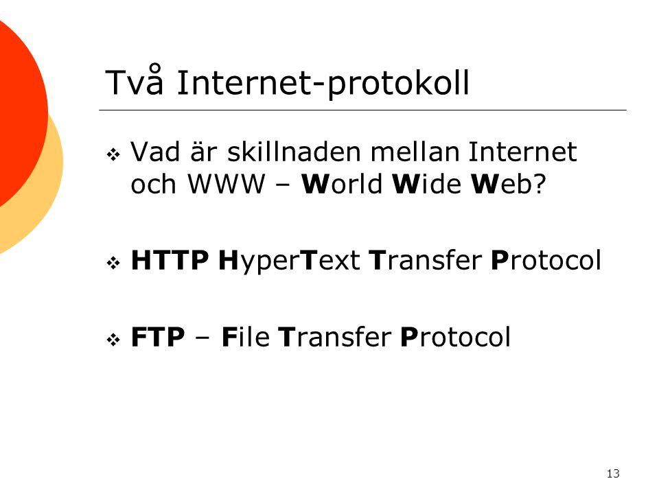 13 Två Internet-protokoll  Vad är skillnaden mellan Internet och WWW – World Wide Web?  HTTP HyperText Transfer Protocol  FTP – File Transfer Proto