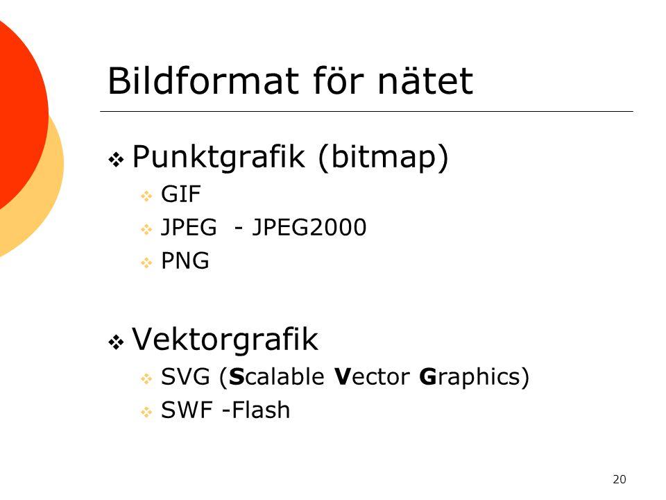 20 Bildformat för nätet  Punktgrafik (bitmap)  GIF  JPEG - JPEG2000  PNG  Vektorgrafik  SVG (Scalable Vector Graphics)  SWF -Flash
