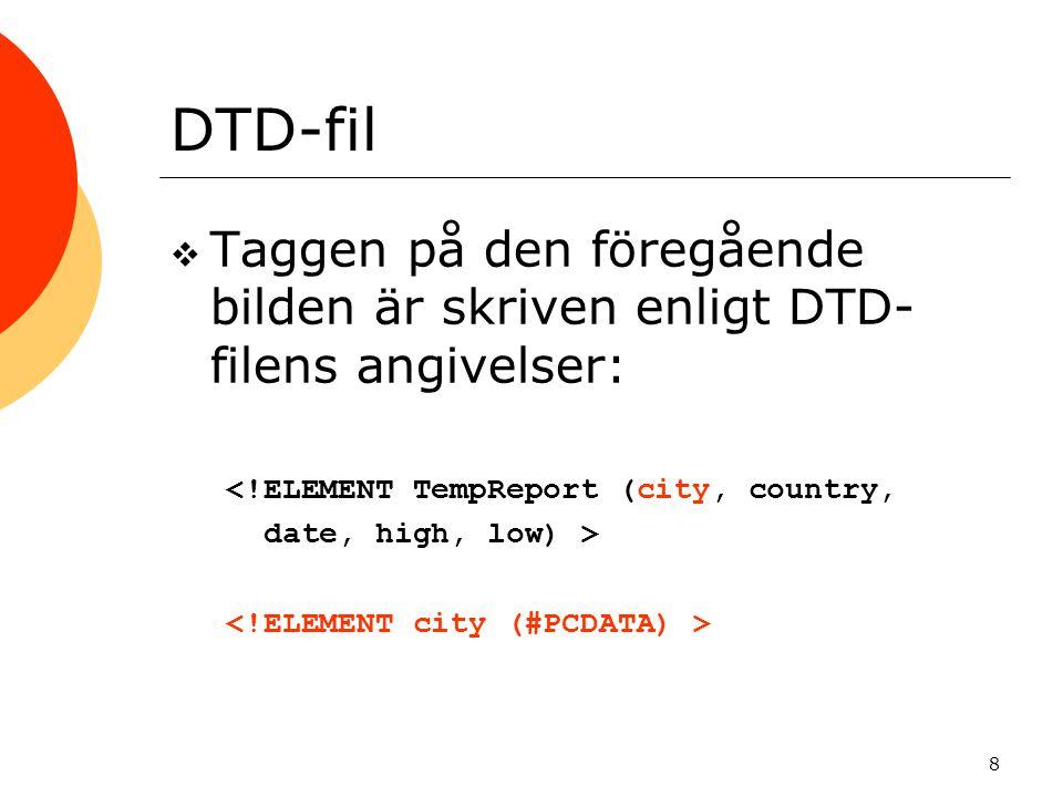 8 DTD-fil  Taggen på den föregående bilden är skriven enligt DTD- filens angivelser: <!ELEMENT TempReport (city, country, date, high, low) >