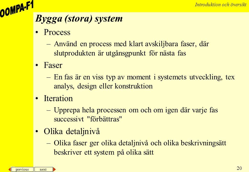 previous next 20 Introduktion och översikt Bygga (stora) system •Process –Använd en process med klart avskiljbara faser, där slutprodukten är utgånsgp
