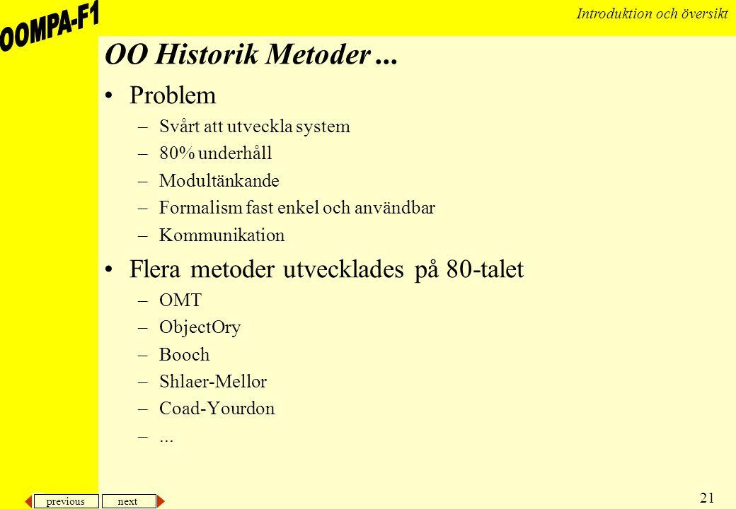 previous next 21 Introduktion och översikt OO Historik Metoder... •Problem –Svårt att utveckla system –80% underhåll –Modultänkande –Formalism fast en