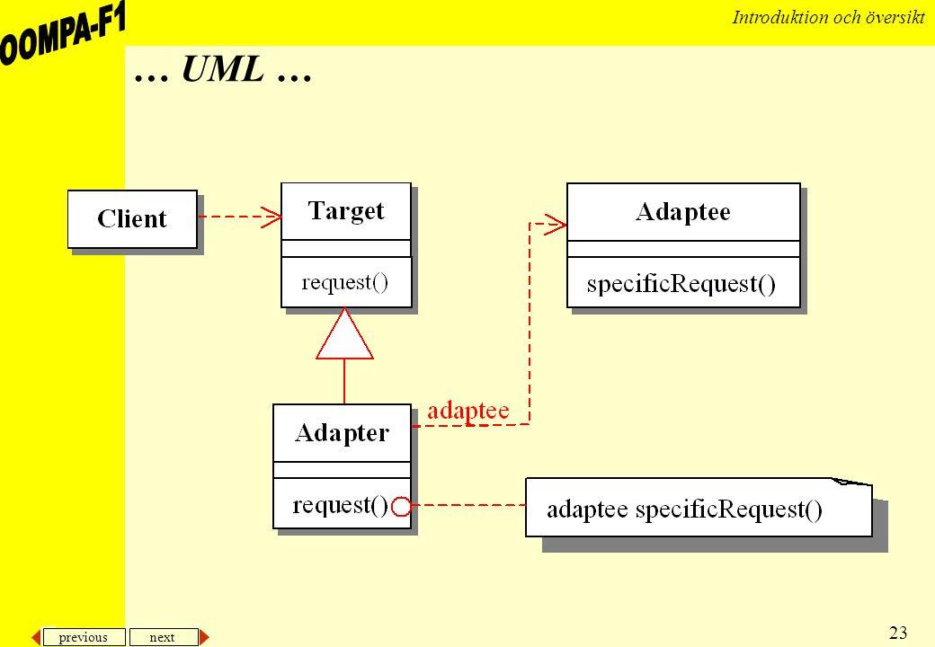 previous next 23 Introduktion och översikt … UML …