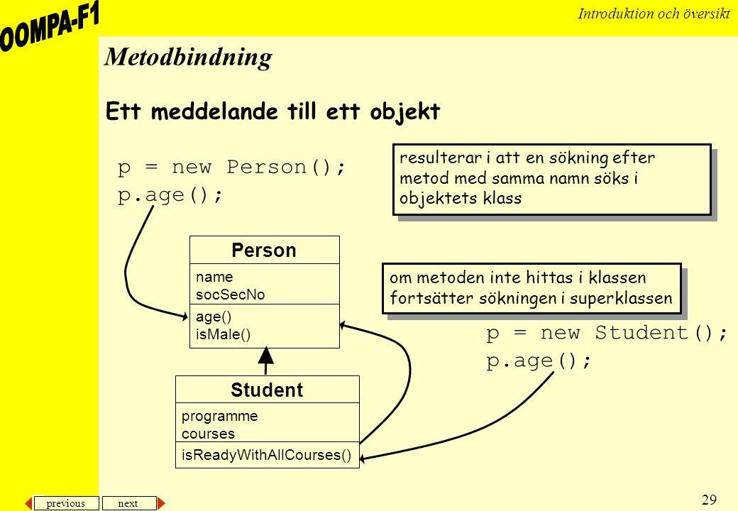 previous next 29 Introduktion och översikt Metodbindning om metoden inte hittas i klassen fortsätter sökningen i superklassen om metoden inte hittas i