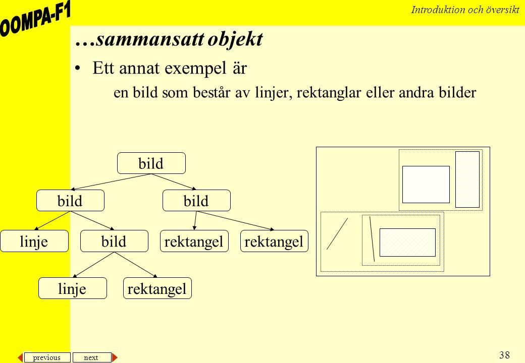 previous next 38 Introduktion och översikt …sammansatt objekt •Ett annat exempel är en bild som består av linjer, rektanglar eller andra bilder bild l