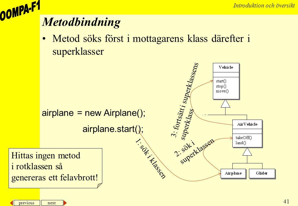 previous next 41 Introduktion och översikt Metodbindning •Metod söks först i mottagarens klass därefter i superklasser airplane = new Airplane(); airp