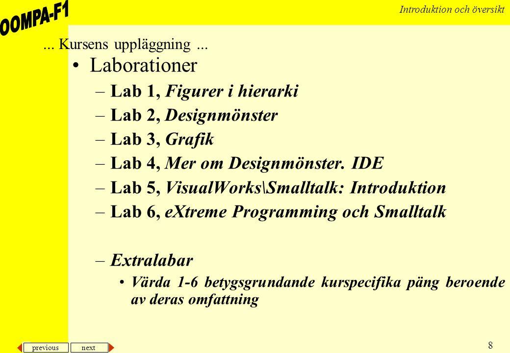 previous next 8 Introduktion och översikt •Laborationer –Lab 1, Figurer i hierarki –Lab 2, Designmönster –Lab 3, Grafik –Lab 4, Mer om Designmönster.