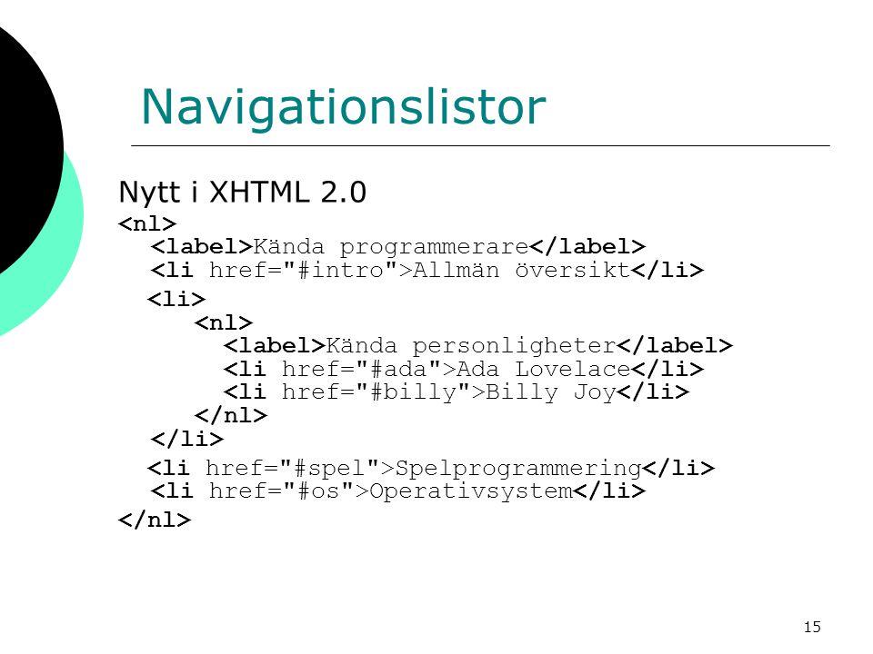 15 Navigationslistor Nytt i XHTML 2.0 Kända programmerare Allmän översikt Kända personligheter Ada Lovelace Billy Joy Spelprogrammering Operativsystem