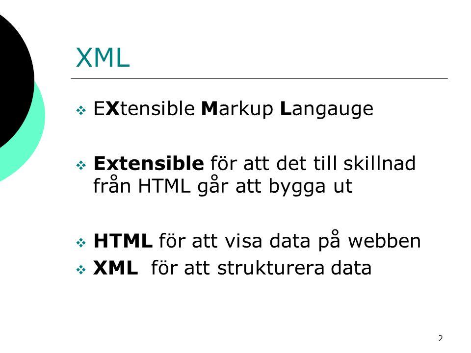 2 XML  EXtensible Markup Langauge  Extensible för att det till skillnad från HTML går att bygga ut  HTML för att visa data på webben  XML för att
