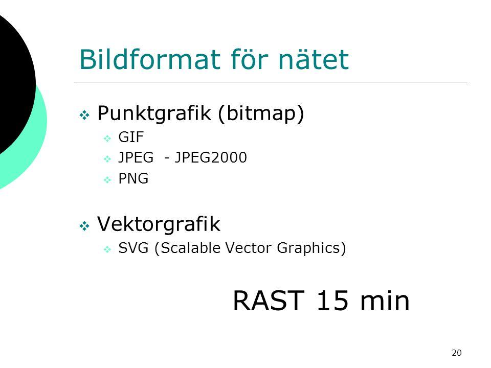 20 Bildformat för nätet  Punktgrafik (bitmap)  GIF  JPEG - JPEG2000  PNG  Vektorgrafik  SVG (Scalable Vector Graphics) RAST 15 min