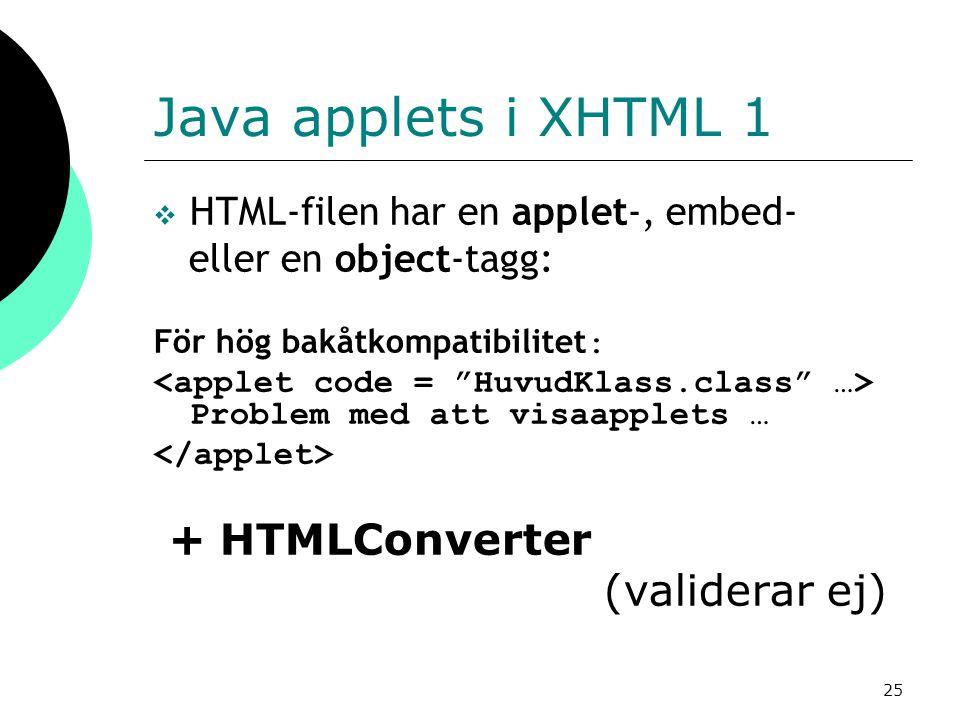 25 Java applets i XHTML 1  HTML-filen har en applet-, embed- eller en object-tagg: För hög bakåtkompatibilitet : Problem med att visaapplets … + HTMLConverter (validerar ej)