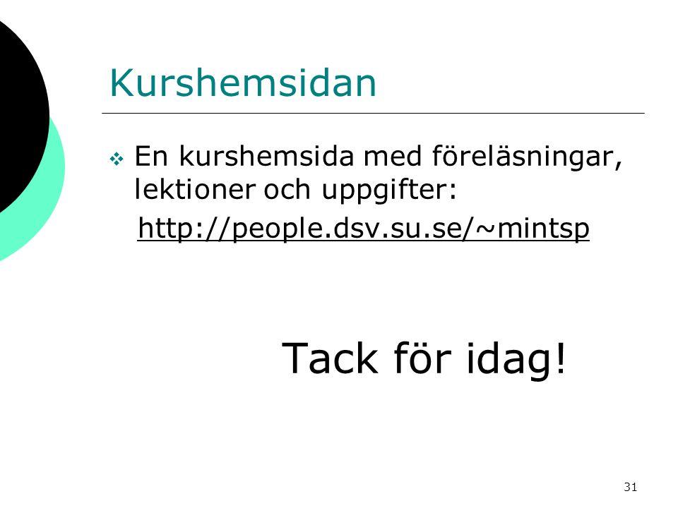 31 Kurshemsidan  En kurshemsida med föreläsningar, lektioner och uppgifter: http://people.dsv.su.se/~mintsp Tack för idag!