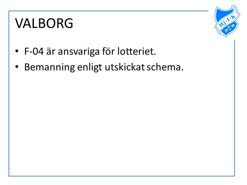 VALBORG • F-04 är ansvariga för lotteriet. • Bemanning enligt utskickat schema.