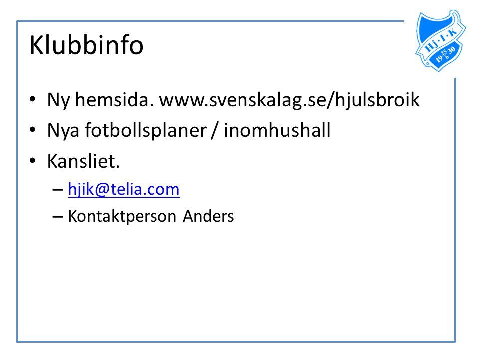 Klubbinfo • Ny hemsida. www.svenskalag.se/hjulsbroik • Nya fotbollsplaner / inomhushall • Kansliet. – hjik@telia.com hjik@telia.com – Kontaktperson An
