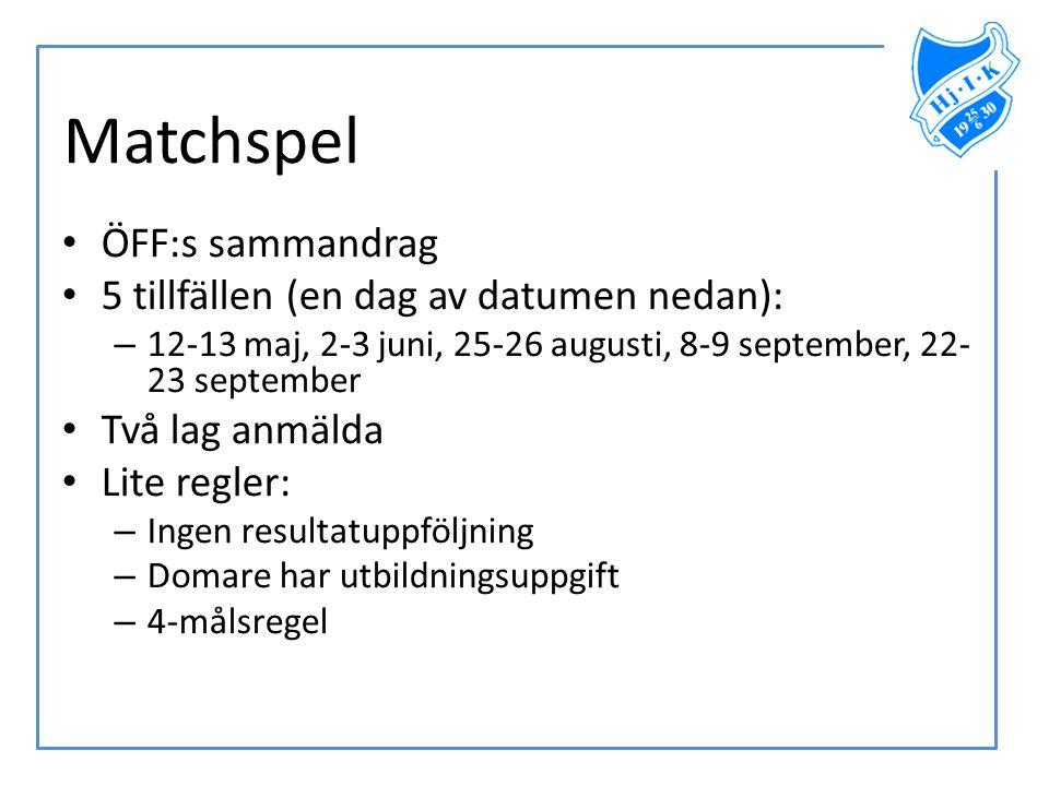 Matchspel • ÖFF:s sammandrag • 5 tillfällen (en dag av datumen nedan): – 12-13 maj, 2-3 juni, 25-26 augusti, 8-9 september, 22- 23 september • Två lag