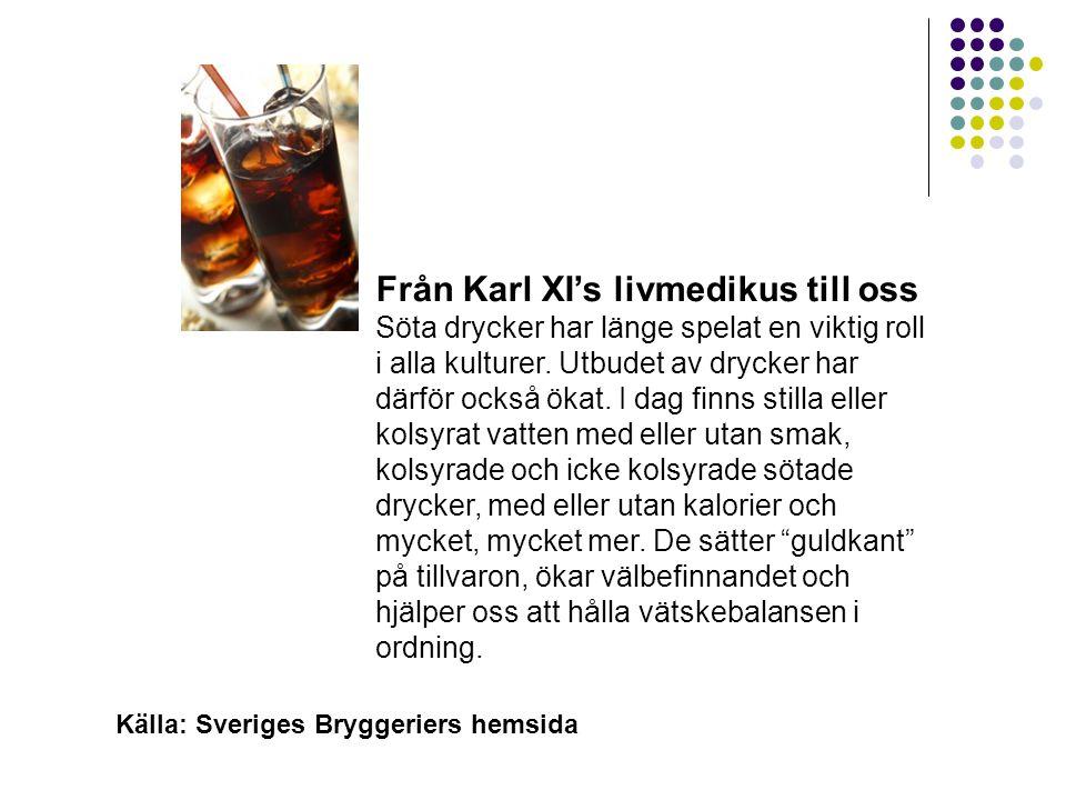 Läsk Från Karl XI's livmedikus till oss Söta drycker har länge spelat en viktig roll i alla kulturer. Utbudet av drycker har därför också ökat. I dag