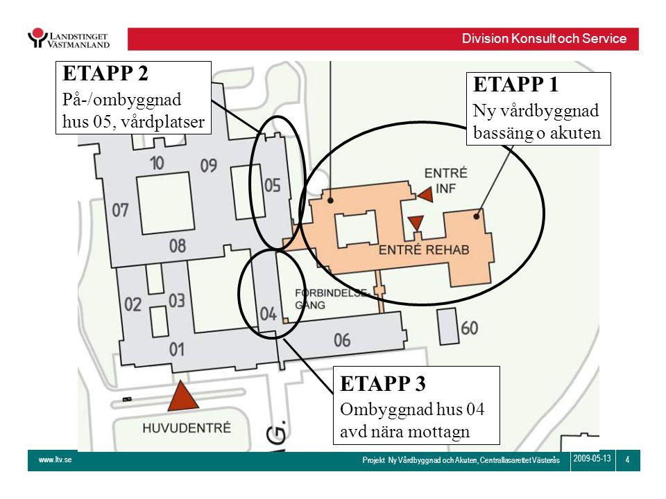 www.ltv.se Projekt Ny Vårdbyggnad och Akuten, Centrallasarettet Västerås Division Konsult och Service 4 2009-05-13 ETAPP 1 Ny vårdbyggnad bassäng o ak
