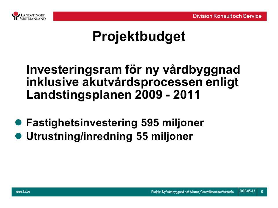 www.ltv.se Projekt Ny Vårdbyggnad och Akuten, Centrallasarettet Västerås Division Konsult och Service 6 2009-05-13 Projektbudget Investeringsram för n