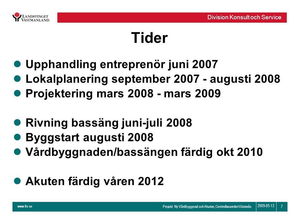 www.ltv.se Projekt Ny Vårdbyggnad och Akuten, Centrallasarettet Västerås Division Konsult och Service 7 2009-05-13 Tider lUpphandling entreprenör juni