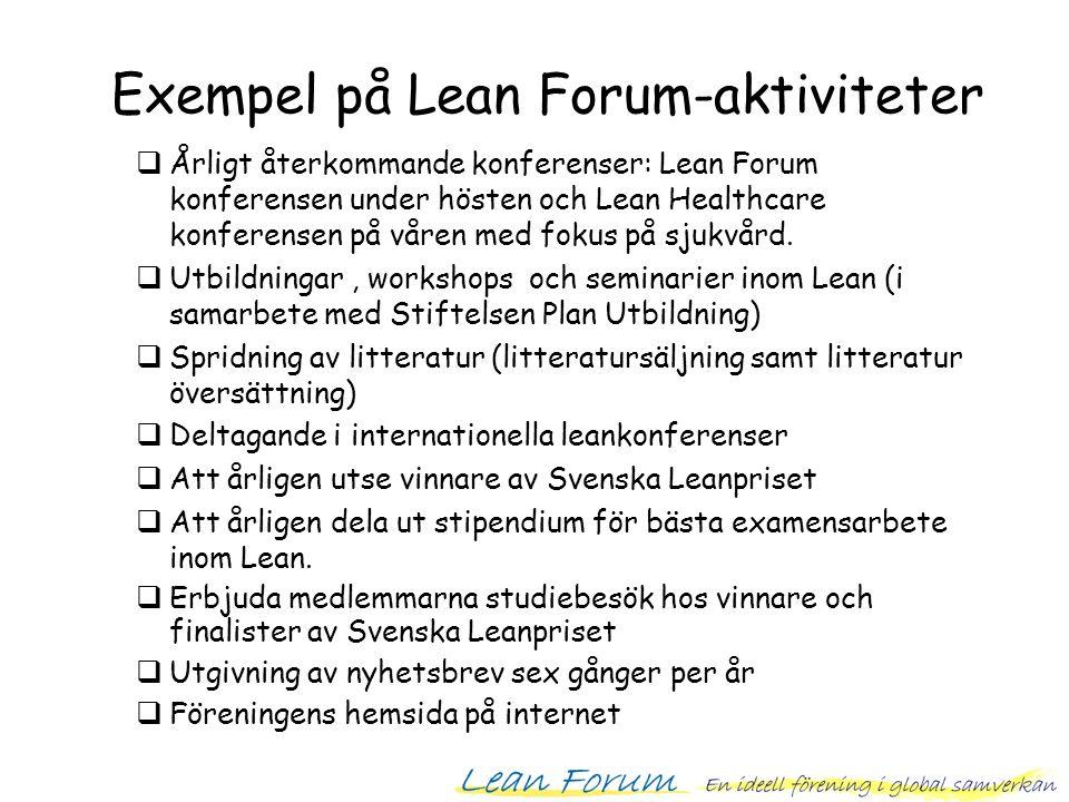  Årligt återkommande konferenser: Lean Forum konferensen under hösten och Lean Healthcare konferensen på våren med fokus på sjukvård.  Utbildningar,