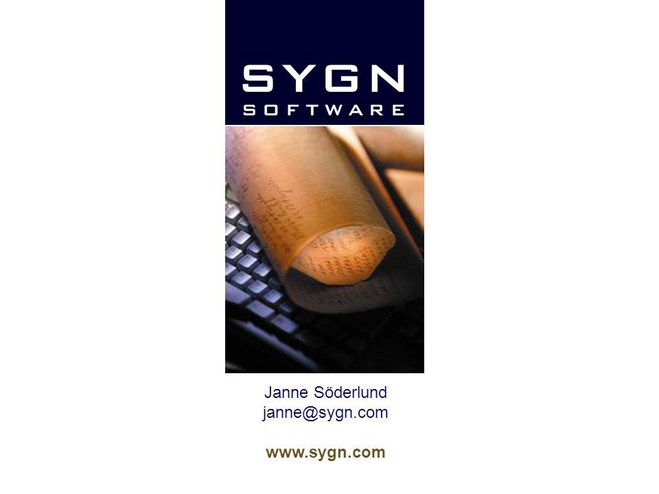 Janne Söderlund janne@sygn.com www.sygn.com