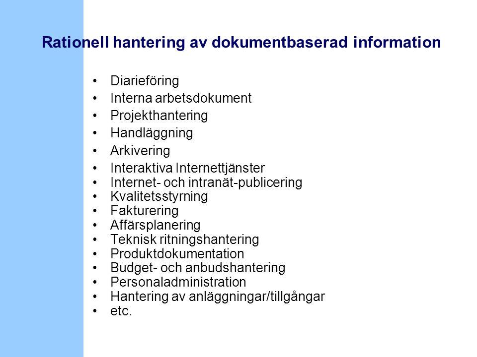 •Diarieföring •Interna arbetsdokument •Projekthantering •Handläggning •Arkivering •Interaktiva Internettjänster •Internet- och intranät-publicering •K