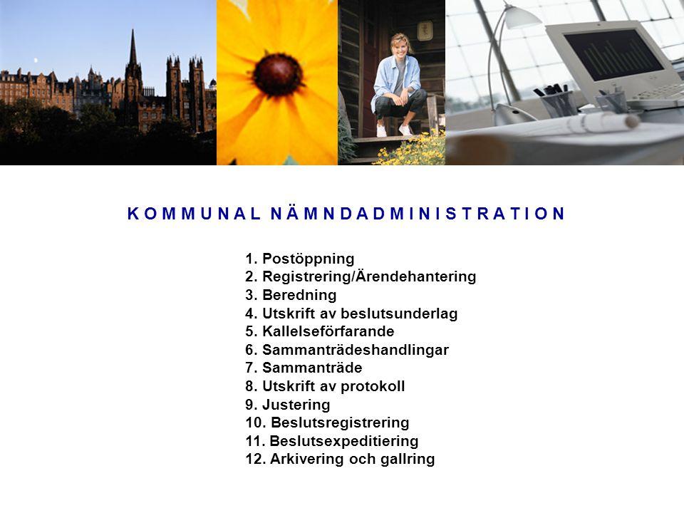 K O M M U N A L N Ä M N D A D M I N I S T R A T I O N 1. Postöppning 2. Registrering/Ärendehantering 3. Beredning 4. Utskrift av beslutsunderlag 5. Ka