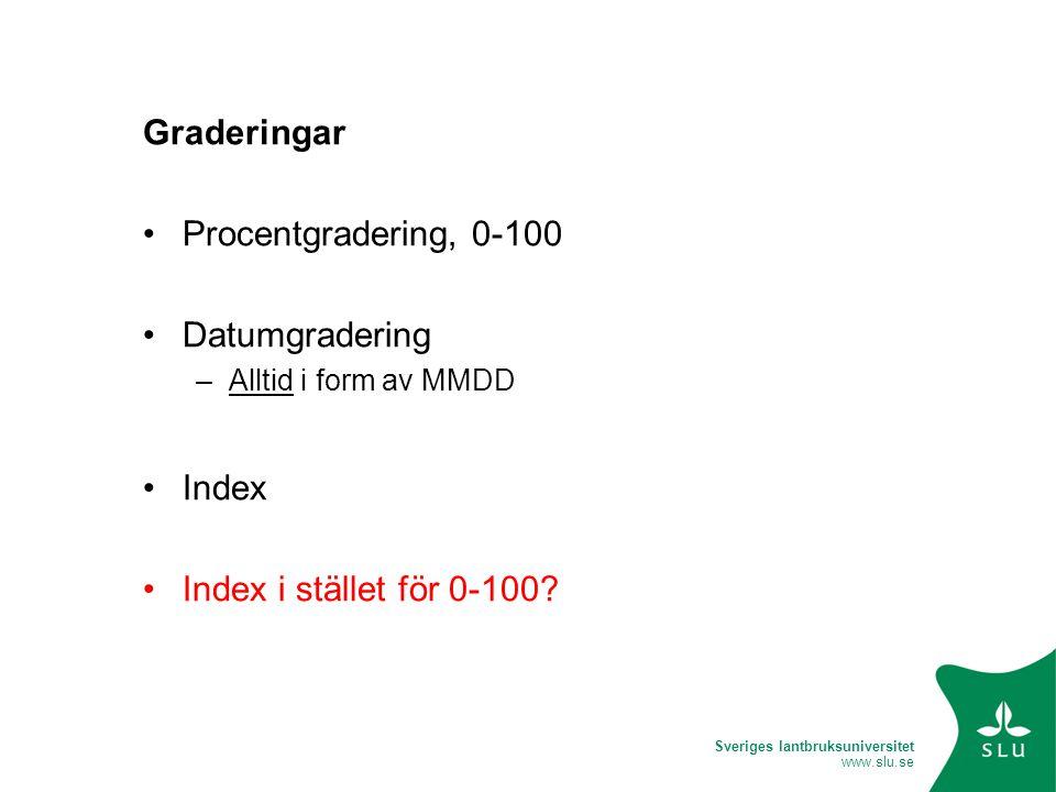 Sveriges lantbruksuniversitet www.slu.se Graderingar •Procentgradering, 0-100 •Datumgradering –Alltid i form av MMDD •Index •Index i stället för 0-100