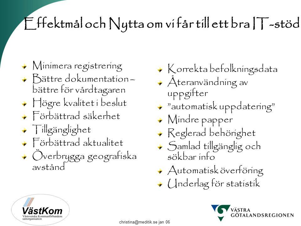 christina@meditik.se jan 06 Effektmål och Nytta om vi får till ett bra IT-stöd Minimera registrering Bättre dokumentation – bättre för vårdtagaren Hög