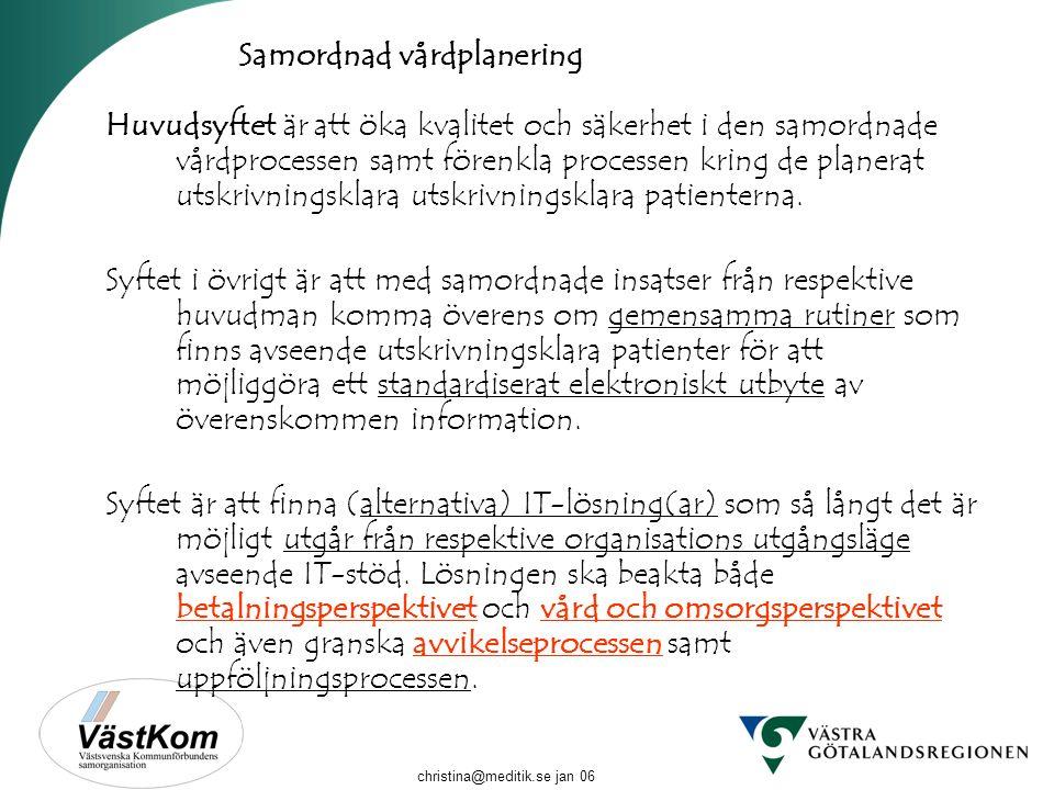 christina@meditik.se jan 06 Betalnings- perspektivet Vård o omsorgs- perspektivet Avvikelse- perspektivet Samordnad vårdplanering Huvudsyftet är att ö