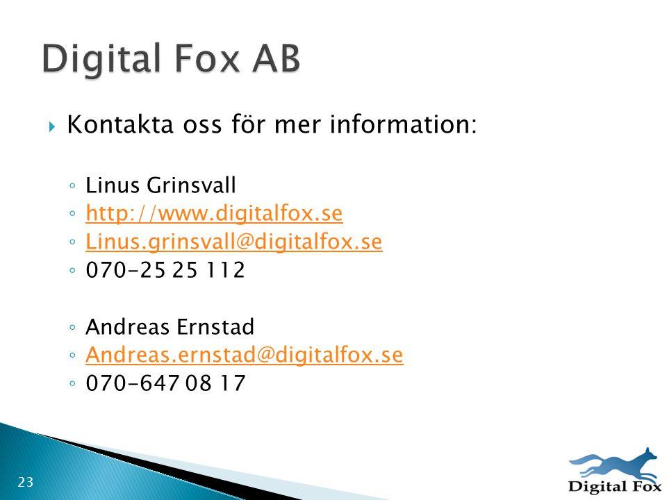  Kontakta oss för mer information: ◦ Linus Grinsvall ◦ http://www.digitalfox.se http://www.digitalfox.se ◦ Linus.grinsvall@digitalfox.se Linus.grinsv