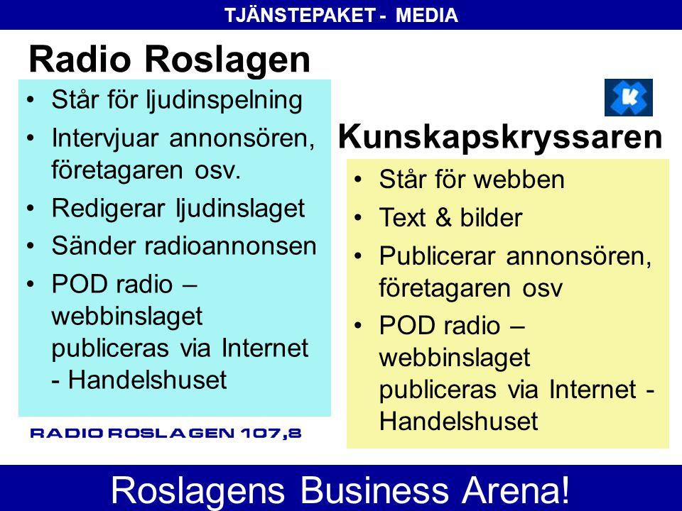 Radio Roslagen •Står för ljudinspelning •Intervjuar annonsören, företagaren osv. •Redigerar ljudinslaget •Sänder radioannonsen •POD radio – webbinslag
