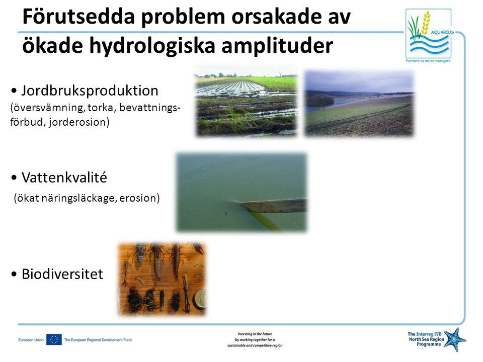 Förutsedda problem orsakade av ökade hydrologiska amplituder • Jordbruksproduktion (översvämning, torka, bevattnings- förbud, jorderosion) • Vattenkvalité (ökat näringsläckage, erosion) • Biodiversitet