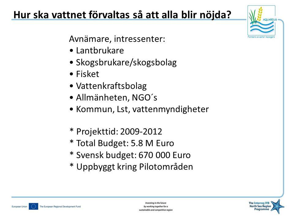 Avnämare, intressenter: • Lantbrukare • Skogsbrukare/skogsbolag • Fisket • Vattenkraftsbolag • Allmänheten, NGO´s • Kommun, Lst, vattenmyndigheter * Projekttid: 2009-2012 * Total Budget: 5.8 M Euro * Svensk budget: 670 000 Euro * Uppbyggt kring Pilotområden Hur ska vattnet förvaltas så att alla blir nöjda?