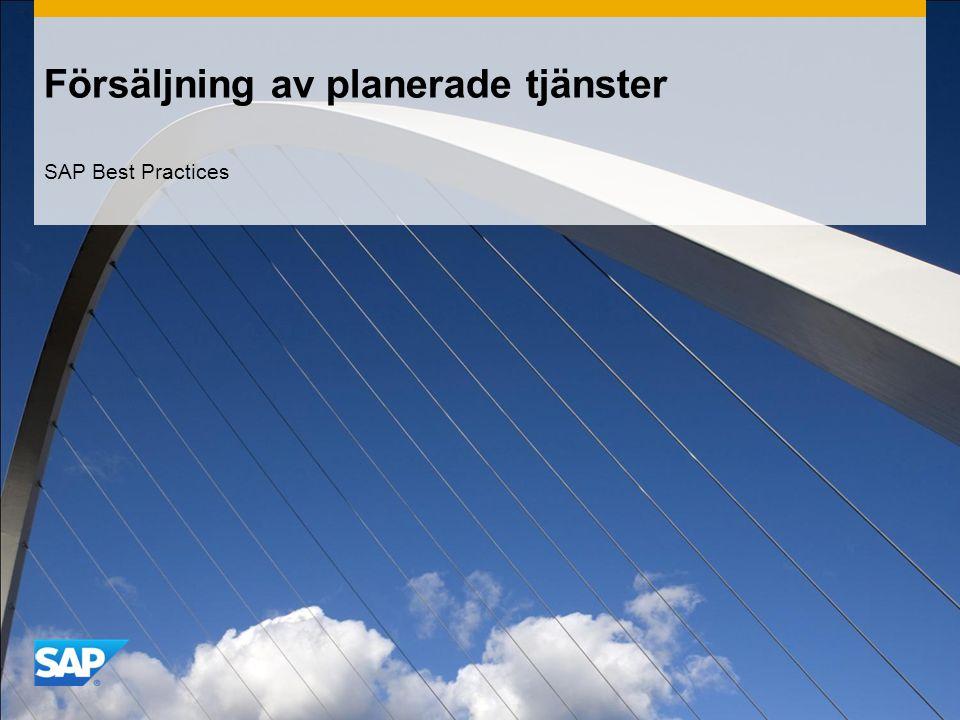 Försäljning av planerade tjänster SAP Best Practices