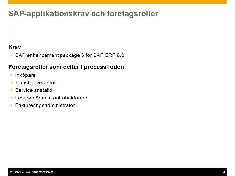 ©2012 SAP AG. All rights reserved.3 SAP-applikationskrav och företagsroller Krav  SAP enhancement package 6 för SAP ERP 6.0 Företagsroller som deltar