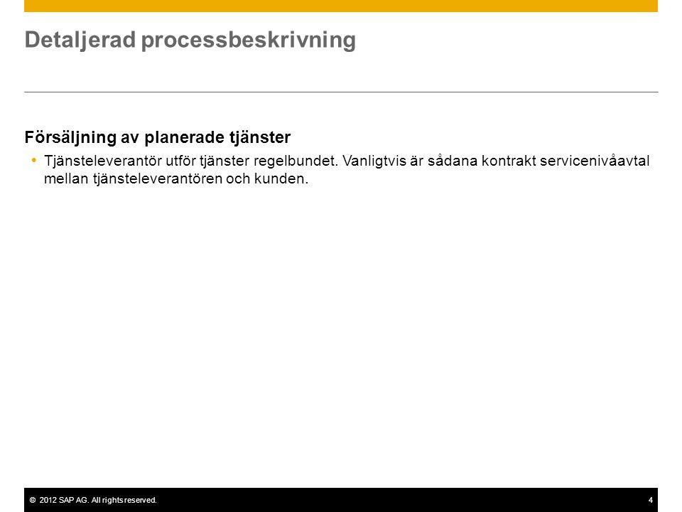 ©2012 SAP AG. All rights reserved.4 Detaljerad processbeskrivning Försäljning av planerade tjänster  Tjänsteleverantör utför tjänster regelbundet. Va