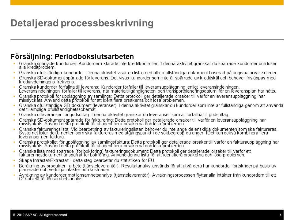 ©2012 SAP AG. All rights reserved.4 Detaljerad processbeskrivning Försäljning: Periodbokslutsarbeten  Granska spärrade kundorder: Kundordern klarade