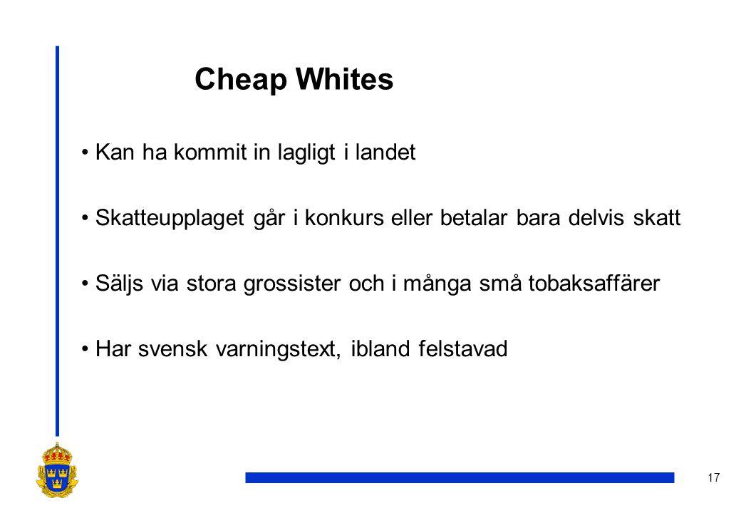 17 Cheap Whites •Kan ha kommit in lagligt i landet •Skatteupplaget går i konkurs eller betalar bara delvis skatt •Säljs via stora grossister och i mån