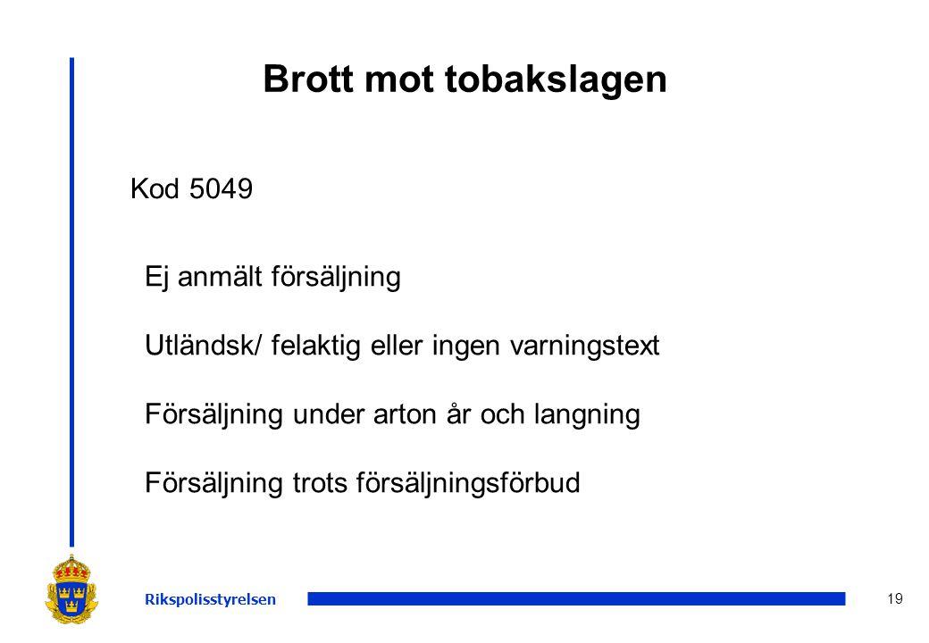 19 Brott mot tobakslagen Rikspolisstyrelsen Kod 5049 Ej anmält försäljning Utländsk/ felaktig eller ingen varningstext Försäljning under arton år och