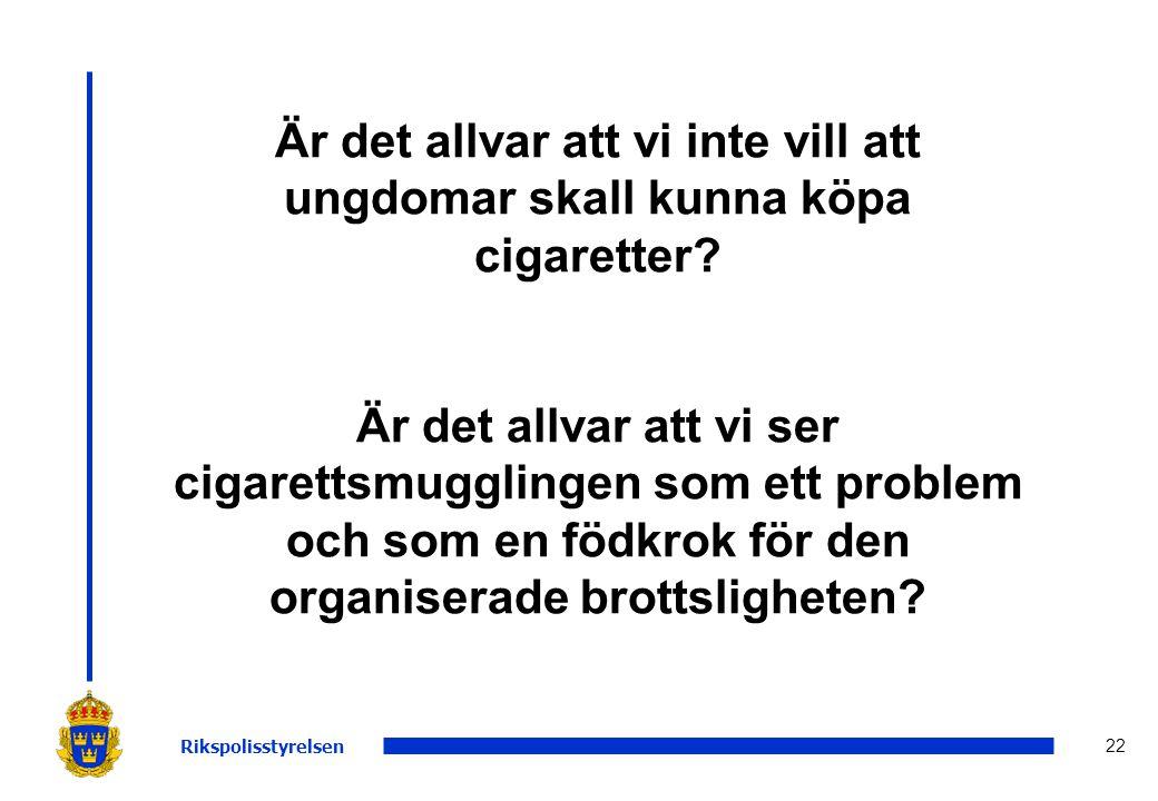 22 Är det allvar att vi inte vill att ungdomar skall kunna köpa cigaretter? Är det allvar att vi ser cigarettsmugglingen som ett problem och som en fö