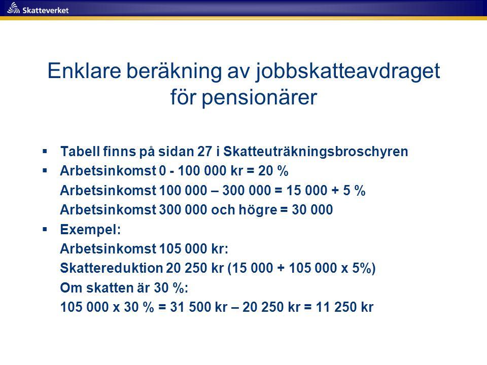 Enklare beräkning av jobbskatteavdraget för pensionärer  Tabell finns på sidan 27 i Skatteuträkningsbroschyren  Arbetsinkomst 0 - 100 000 kr = 20 %