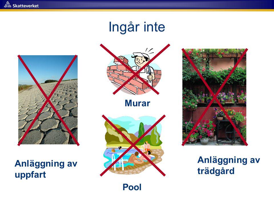 Ingår inte Anläggning av uppfart Murar Anläggning av trädgård Pool