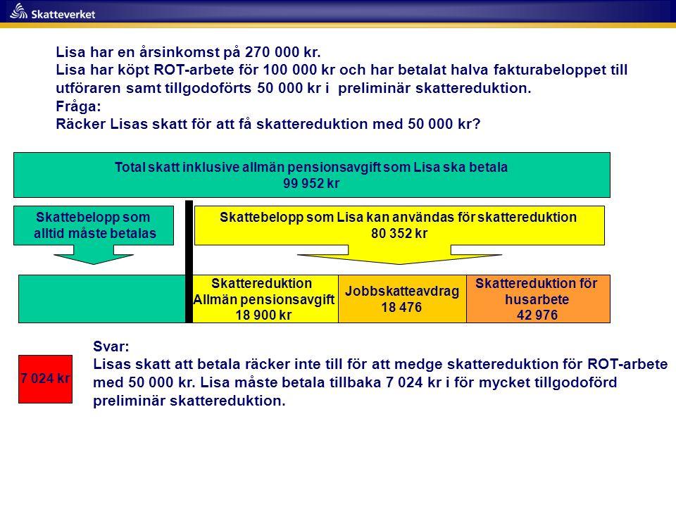 Total skatt inklusive allmän pensionsavgift som Lisa ska betala 99 952 kr Skattereduktion för husarbete 42 976 Skattereduktion Allmän pensionsavgift 1