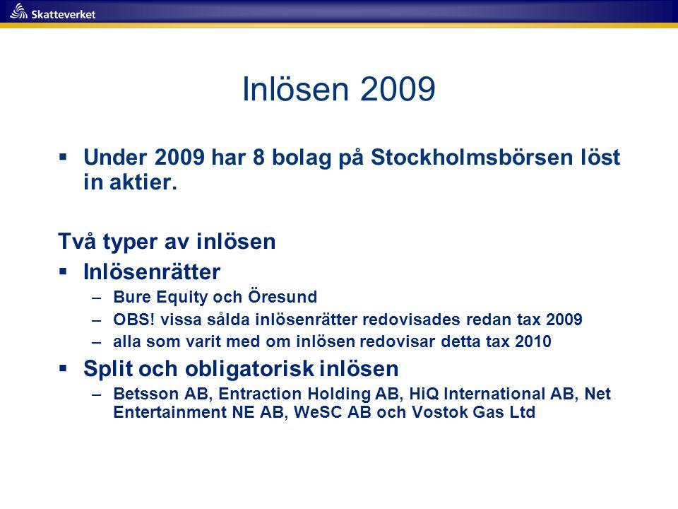 Inlösen 2009  Under 2009 har 8 bolag på Stockholmsbörsen löst in aktier. Två typer av inlösen  Inlösenrätter –Bure Equity och Öresund –OBS! vissa så