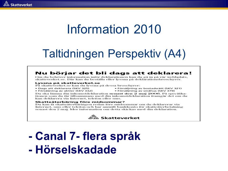 Taltidningen Perspektiv (A4) - Canal 7- flera språk - Hörselskadade Information 2010