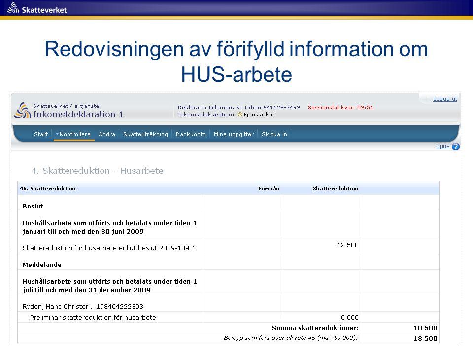 Redovisningen av förifylld information om HUS-arbete