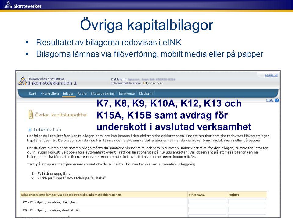 K7, K8, K9, K10A, K12, K13 och K15A, K15B samt avdrag för underskott i avslutad verksamhet Övriga kapitalbilagor  Resultatet av bilagorna redovisas i