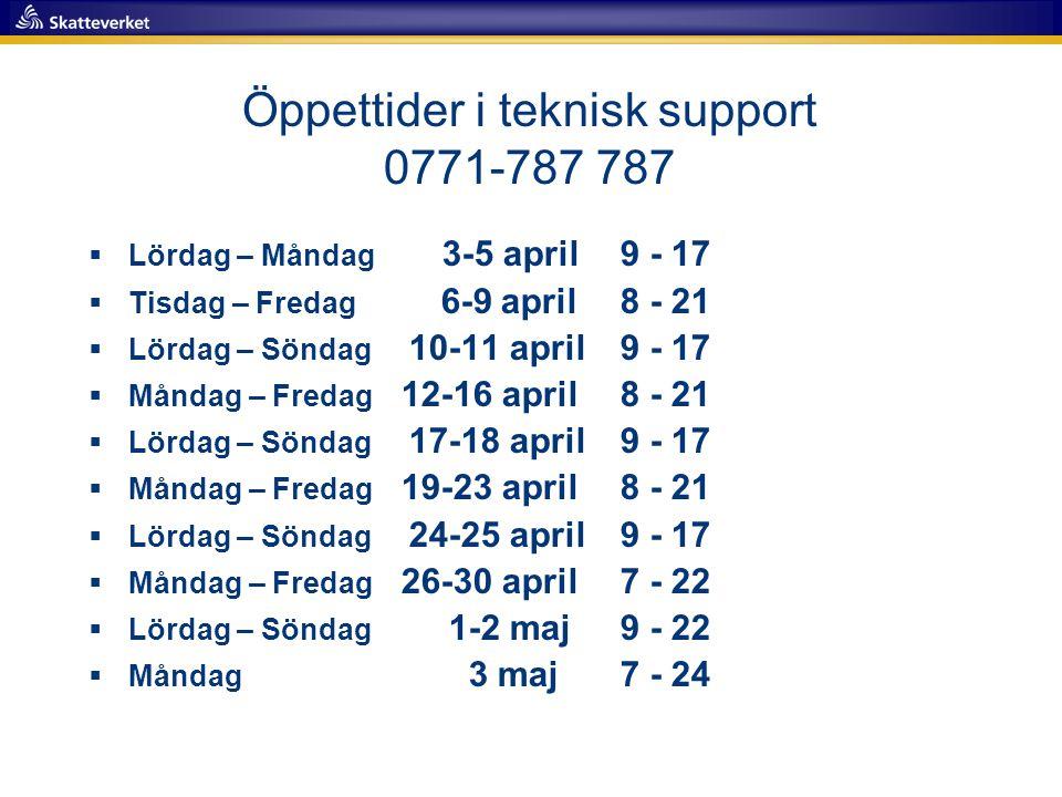 Öppettider i teknisk support 0771-787 787  Lördag – Måndag 3-5 april9 - 17  Tisdag – Fredag 6-9 april8 - 21  Lördag – Söndag 10-11 april 9 - 17  M